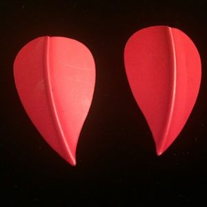 """Jewelry - RED STATEMENT STUD EARRINGS LEAF SHAPED 2"""""""